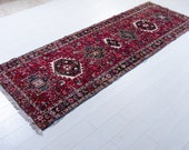 9.12ft x 3.21ft Excellent Hand-Knotted Caucasian Vintage Runner Rug 9 39 Long Handmade Low Pile Red Tribal Hallway Wool Carpet 2230