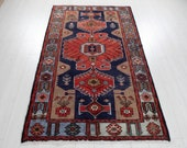6 39 9 quot x 4 39 Excellent Hand-Knotted Vintage Navy Blue Red Tribal Rug 4x7 Soft Faded Wool Carpet 2902