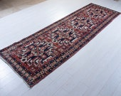 10.27ft x 3.31ft Excellent Hand-Knotted Antique Caucasian Runner Rug Low Pile Worn Faded Red Tribal Hallway Vintage Wool Carpet 2229