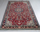 6.92ft x 4.36ft Excellent hand knotted Turkish low pile vintage area rug, boho handmade faded red antique oriental wool carpet 1446