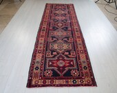10.5 x 3.35ft Excellent hand knotted antique Caucasian runner rug, low pile worn handmade vintage faded navy blue hallway wool carpet 1510