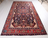 9.8ft x 5.2ft Excellent Hand-Knotted Vintage Tribal Rug 5x10 Handmade Soft Antique Bohemian Wool Carpet 2003