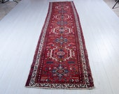 12ft x 2.85ft Excellent Hand-Knotted Vintage Caucasian Runner Rug Low Pile Worn Faded Red Tribal Handmade Hallway Wool Carpet 2232