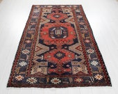 6 39 10 quot x 4 39 3 quot Excellent Hand-Knotted Vintage Dark Navy Blue Red Tribal Rug 4x7 Soft Faded Antique Wool Carpet 2905