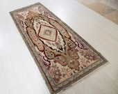 7.7ft x 3.11ft Excellent hand knotted tribal Caucasian antique rug, soft handmade green boho vintage wool carpet 1125