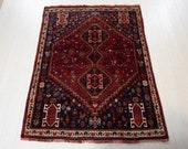 5.88x4.36ft Excellent hand knotted tribal Caucasian antique rug, low pile faded handmade rustic red boho vintage wool carpet 1117