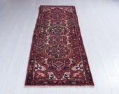 6.6ft x 2.46ft Excellent Hand-Knotted Vintage Short Runner Rug Faded Red Handmade Tribal Small Hallway Carpet 2240