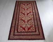 6.56ft x 3.18ft Excellent hand knotted tribal Afghan antique rug, boho handmade faded beige light brown vintage low pile wool carpet 1421