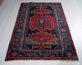 6.1ft x 4.1ft Excellent hand knotted Caucasian vintage soft area rug, boho handmade red navy antique oriental wool carpet 1449