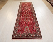 9.65ft x 2.92ft Excellent hand knotted tribal Caucasian vintage runner rug, low pile handmade faded red hallway wool carpet 1238