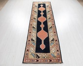 8 39 8 quot x 2 39 5 quot Excellent Hand-Knotted Antique Runner Rug 9ft Long Navy Blue Narrow Vintage Hallway Carpet 2899