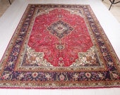 9.8ft x 6.63ft Excellent Hand-Knotted Vintage Turkish Area Rug Low Pile Faded Red Large Handmade Floral Wool Carpet 1931