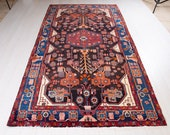 10 39 x 5 39 1 quot Excellent Hand-Knotted Antique Tribal Caucasian Runner Rug 5x10 Handmade Soft Navy Blue Vintage Wool Carpet 1956