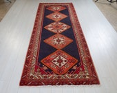 9.8x3.65ft Excellent hand knotted antique tribal Caucasian runner rug, low pile soft handmade vintage navy blue hallway wool carpet 1502
