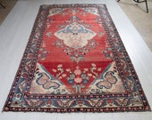 9.25ft x 5.31ft Excellent hand knotted large Caucasian vintage area rug, rare handmade rustic red antique oriental wool carpet 1447