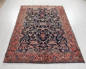 6 39 8 quot x 4 39 10 quot Excellent Hand-Knotted Vintage Navy Blue Collectible Tribal Rug 5x7 Handmade Allover Design Turkish Wool Carpet 2908