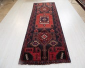 9.55ft x 3.28ft Excellent hand knotted Caucasian antique long runner rug, low pile handmade rustic red blue large hallway wool carpet 1134