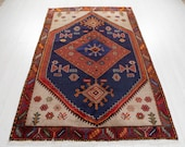 6 39 10 quot x 4 39 6 quot Excellent Hand-Knotted Vintage Navy Blue Red Tribal Rug 4x7 Soft Turkish Wool Carpet 2900