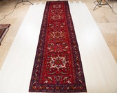 15.14ft x 3.78ft Excellent hand knotted tribal Caucasian long vintage runner rug, low pile handmade red large hallway wool carpet 1233