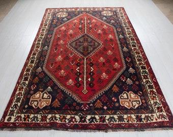 "8' 5"" x 5' 5"" Excellent Hand-Knotted Vintage Red Tribal Afghan Rug 5x8 Handmade Nomadic Wool Carpet #2687"