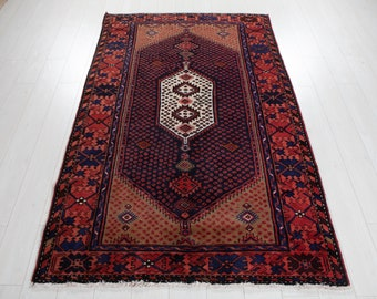 """Vintage Rug 4x7 Dark Navy Blue 6' 7"""" x 4' 2"""" Hand-Knotted Antique Low Pile Soft Turkish Geometric Wool Carpet In Excellent Condition #3144"""