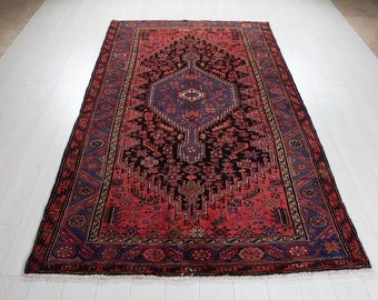 """Vintage Rug 5x8 Dark Navy Blue Red 8' 1"""" x 5' Hand-Knotted Low Pile Soft Tribal Geometric Wool Carpet In Excellent Condition #3101"""