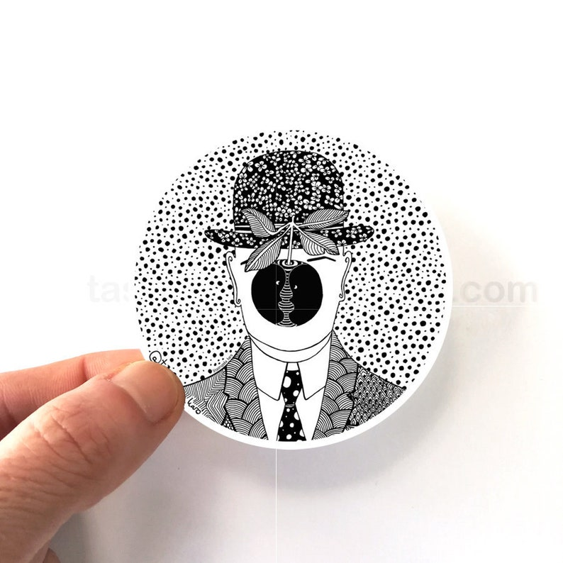 René Magritte, The Son of Man, Vinyl Sticker, Magritte Geometric design,  Circle Inspiration, black and white art, Zentangle, Free Shipping