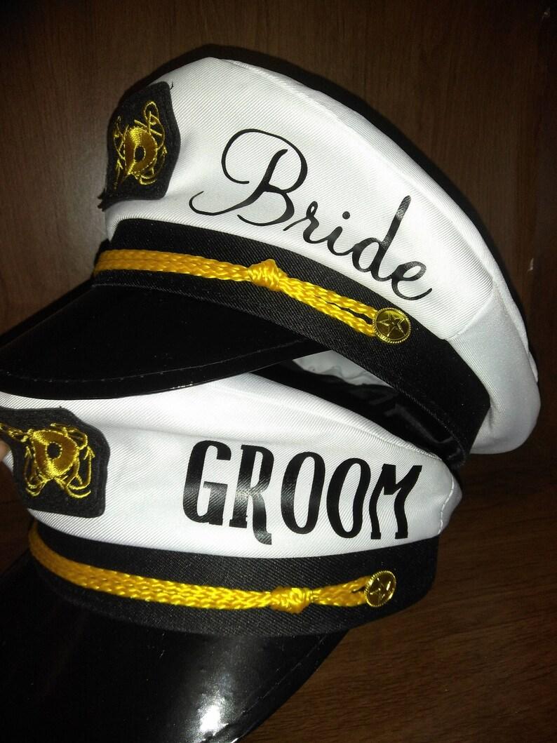a6c2b80619 Personalized Couples Captains hat w veil Bride Groom Mr.