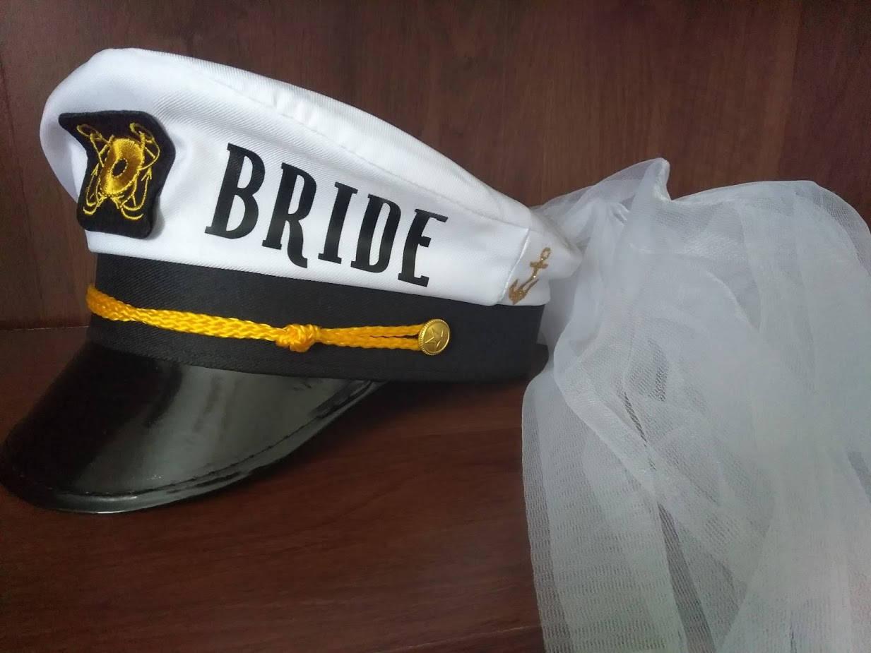 8aa3f88350c Bride Captains hat with Veil Personalize bridal shower