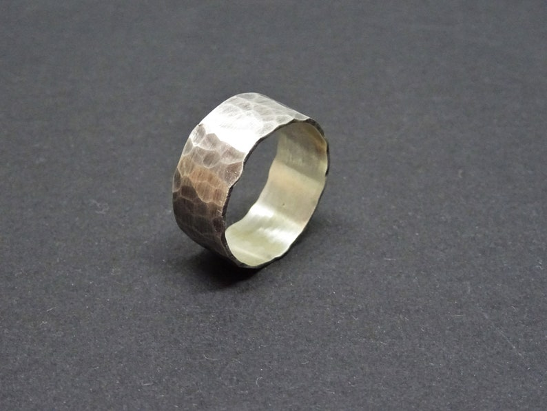 Rustic Ring Mens Gift Simple Ring Mens Wedding Band Promise Ring Thumb Ring Mens Hammered Wide Sterling Silver Ring Chunky Ring