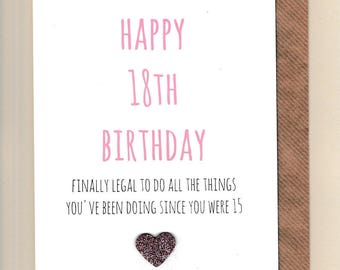 Funny 18TH Birthday Card Eighteen Celebrations Legal Humour Banter Greetingcards