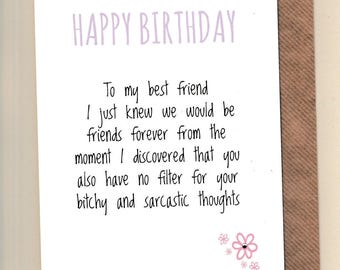 Friends forever card etsy funny best friend birthday card bestie humour banter girls friends forever greetingcards bchy sarcastic thoughts m4hsunfo