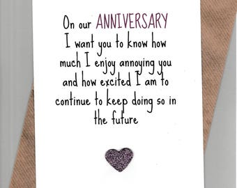 Funny ANNIVERSARY card / Husband / Wife / Partner  /Humour / Banter / Fun /Rude / Cheeky / Greetingcards  - Anniversary Annoy Purple