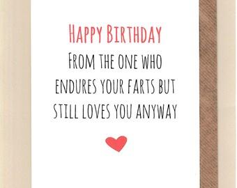 Funny Birthday Card Love Humour Banter Fun Husband Wife Greetingcards