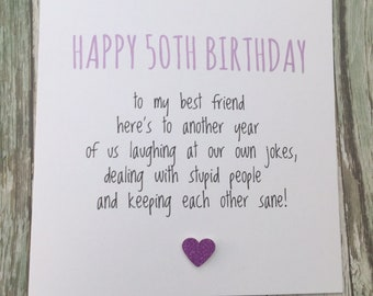 Funny BEST FRIEND 50TH Birthday Card Bestie Love Friends Fifty Humour Banter Greetingcards