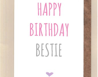 Cute BIRTHDAY Card Bestie Love Best Friends Fun Greetingcards