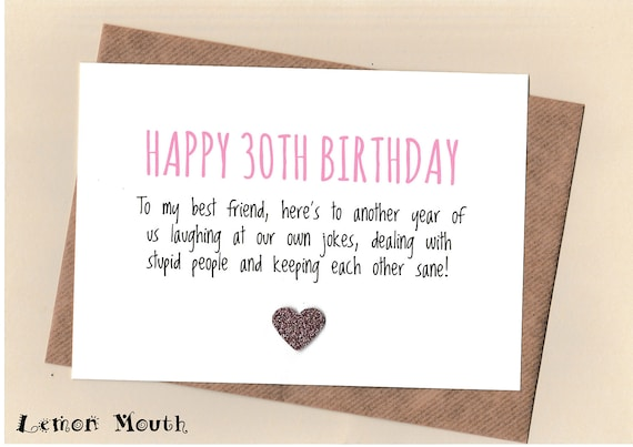Funny Best Friend 30th Birthday Card Bestie Love Friends Etsy
