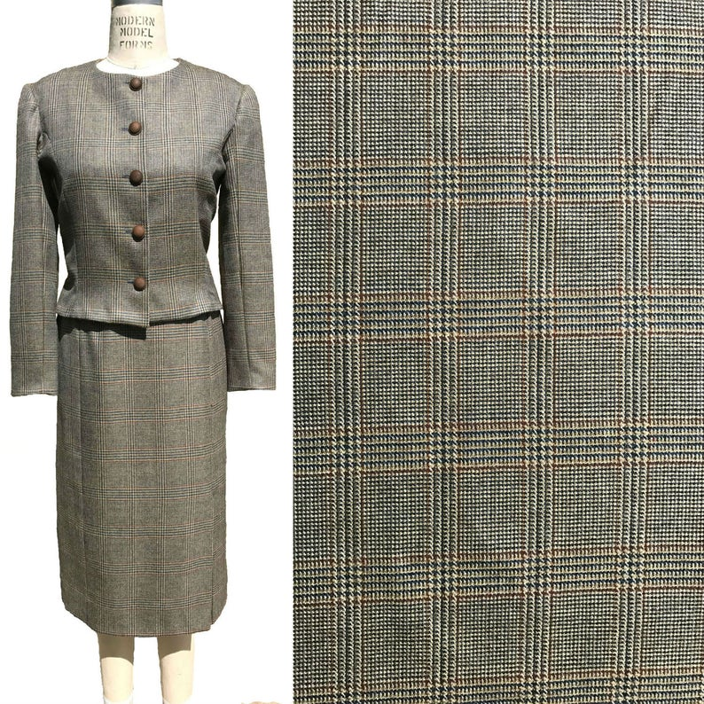 Blue Beige Burgundy Plaid Wool Suiting By the Yard