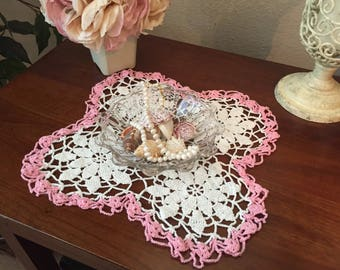 Pretty Pink and White Vintage Handmade Floral Crochet Doily