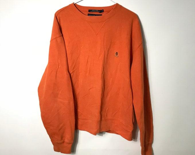 3bfe8e1d Vintage 90s - TOMMY HILFIGER - Tommy Crest - Orange Crewneck Sweater -  Medium