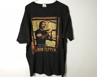2476257f Vintage 90s Band Tee - Aaron Tippin - Big Print - Black T-Shirt - XL