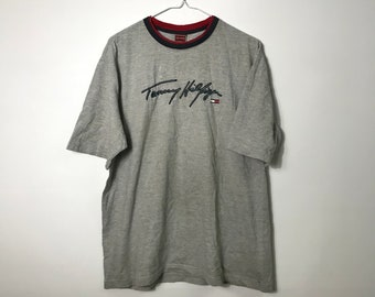 860cfc93 Vintage 90s - TOMMY HILFIGER - Signature Print - Grey T-Shirt | Med - 90s  Retro Throwback Streetwear- Free Shipping