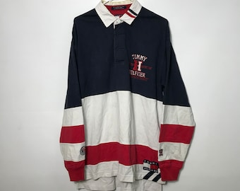 f5d13d9d Vintage 90s - Tommy Hilfiger Athletics - Circle Crest - Navy/Red/White Color  Block Rugby Polo Shirt | Lrg -90s Retro Throwback-Free Shipping