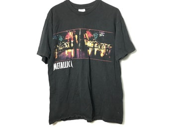 af09ac5f Vintage 90s - METALLICA - 1999 Tour Print - Black T-Shirt | Lrg - 90s Retro  Throwback - Free Shipping