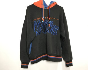 47451b354 Vintage 90s Starter - NewYork Knicks - Big Embroidered Print - Black/Orange  Hoodie Sweater | Med - 90s Retro Throwback - Free Shipping