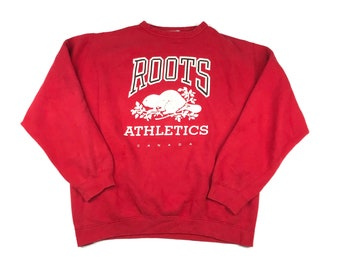 Size M Vintage 90s Roots Canada Women/'s Grey Embroidered Sweatshirt with Convertible Hood