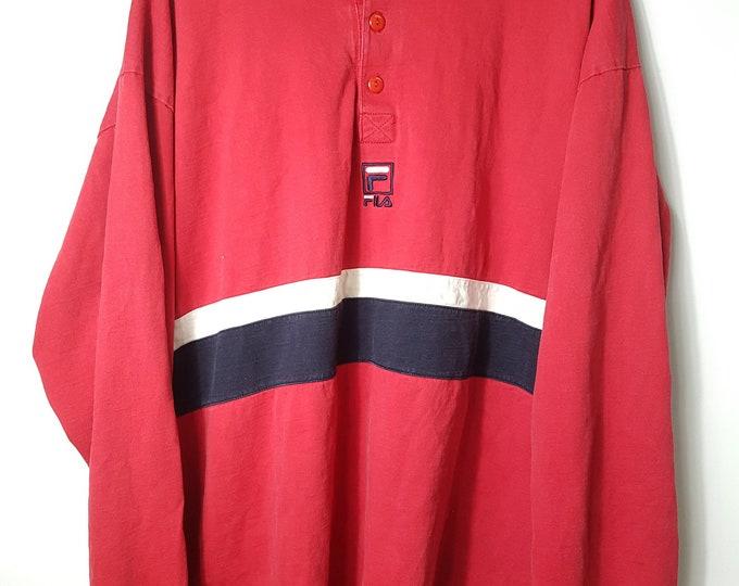 2a1c0cce 1990s Vintage Fila Rugby Shirt / Fila Long Sleeve Shirt 90s Hip Hop  Clothing Throwback Streetwear