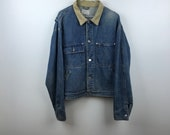 Vintage 90s - Ralph Lauren Authentic Dungarees - Corduroy Collar - Blue Denim - Jean Jacket Lrg - 90s Throwback Streetwear FREE Shipping