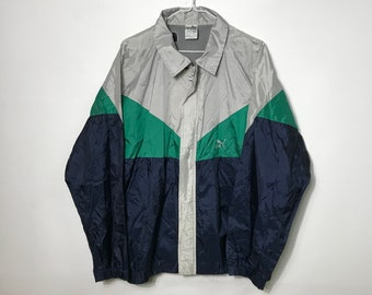 8bf04ce3d6a4 Vintage 90s - PUMA - Sm Logo - Retro Navy Green Grey Windbreaker Jacket