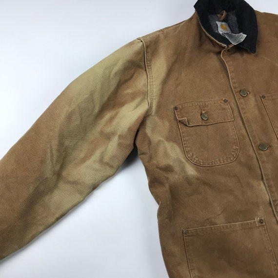 Vintage Carhartt Faded Brown Chore Jacket   Size … - image 5